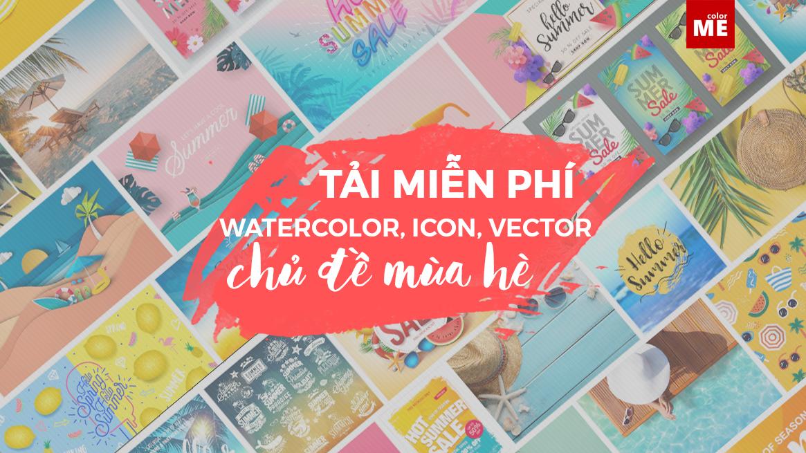"""Nếu bạn đang cần thiết kế thật nhiều ấn phẩm đẹp """"bắt trend"""" hè, hãy tham khảo nguồn tài nguyên phong phú từ ColorME nhé. Icon rồi vector cực xinh về chủ đề mùa hè luôn."""