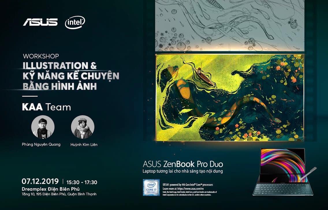 """Một buổi workshop do ASUS Vietnam kết hợp cùng KAA tổ chức với chủ đề """"Illustration và kỹ năng kể chuyện bằng hình ảnh."""