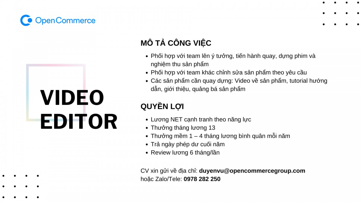 OpenCommerce Group tìm kiếm nhân tài Video Editor và Motion Graphic